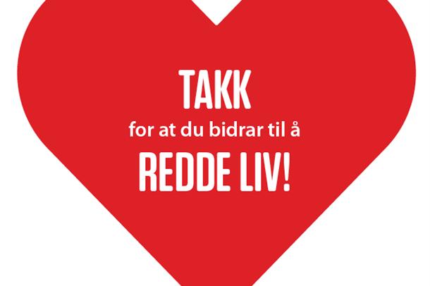Illustrasjon: Hjerte med teksten med Takk for at du bidrar til å redde lilv