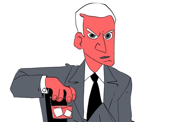 tengning av sint mann med et glass med isbiter