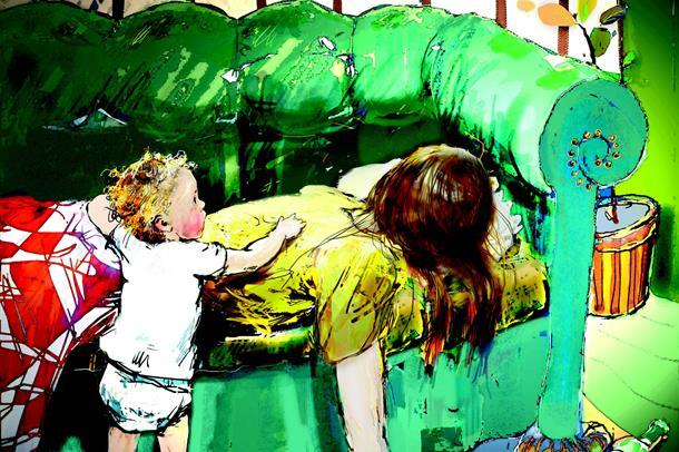tegning av barn som  brer dyne over mor