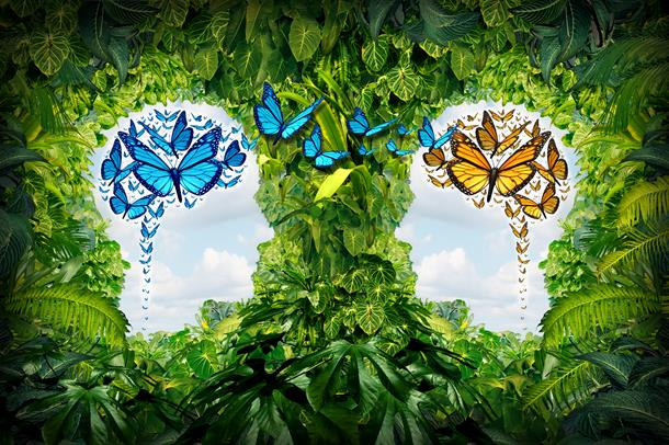 Illustrasjonsfoto av en jungle av grønne blader. Midt i bildet er det formet to hoder som ser på hverandre hvor blå himmel vises