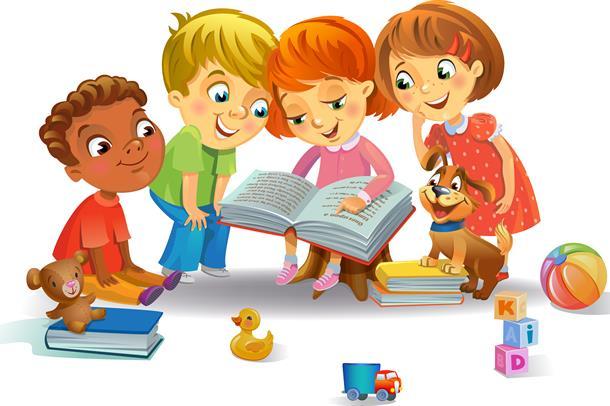 Fire tegneseriefigurer som leser en bok