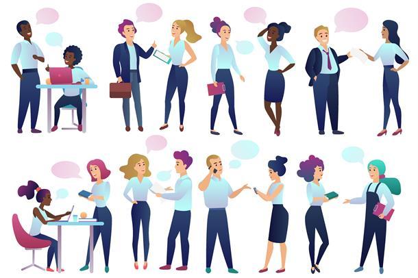 Illustrasjon av mange mennesker som er i ulike dialoger.